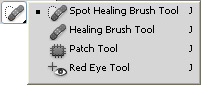 Adobe Photoshop Tool Palette Cheat Sheet - Spot Healing Brush Tool, Patch Tool, Red Eye Tool