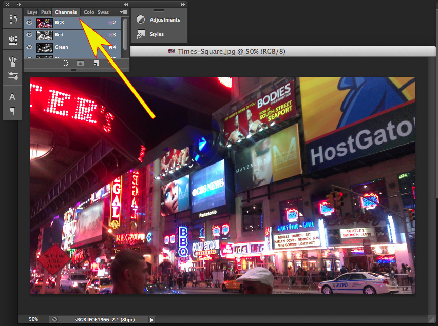 Simple Adobe Photoshop Effects - Select Channels Panel
