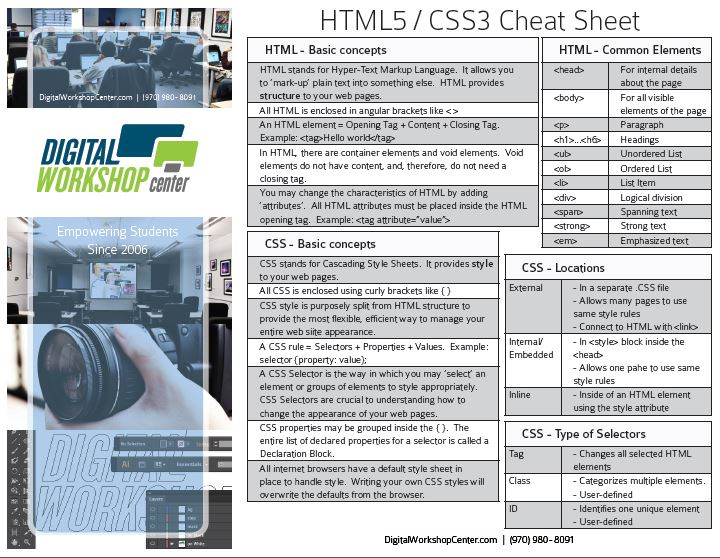 Free HTML5 & CSS3 Cheat Sheet