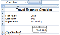 Excel Developer Tools - Checkbox Controls - Checkbox image