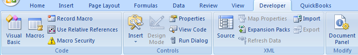 Excel Developer Tools - Checkbox Controls - Developer tab