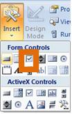 Excel Developer Tools - Checkbox Controls