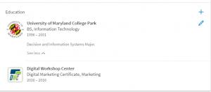 LinkedIn edit profile - education section 2