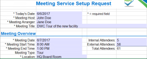 Excel Application Project - Meeting Services Request screen shot 01