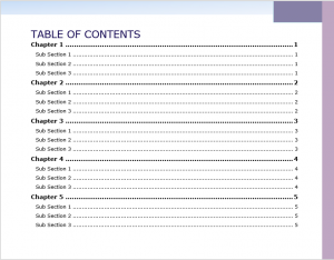 Microsoft Word - Long document - Table of Contents 01