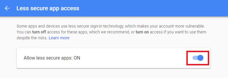 Gmail Less Secure Apps