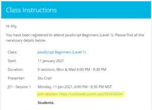 Class URL in email