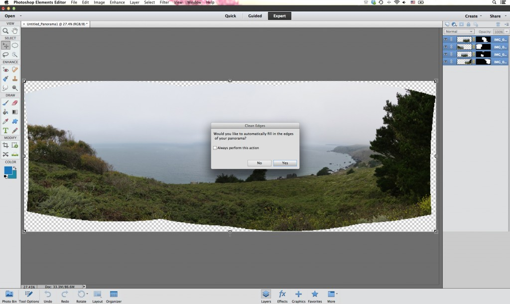 How to Create the Perfect Photo Panorama Using Photoshop - Clean up your edges