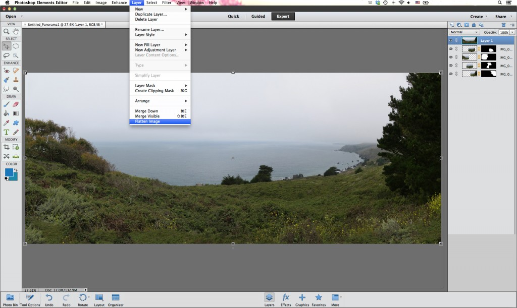 How to Create the Perfect Photo Panorama Using Photoshop - Flatten your image