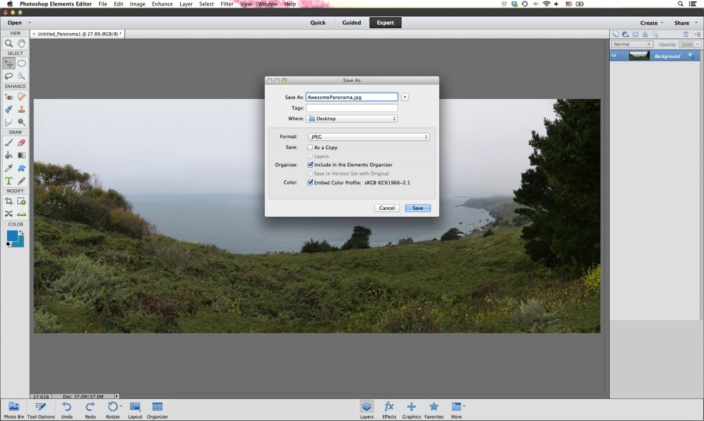 How to Create the Perfect Photo Panorama Using Photoshop - Touch up and save