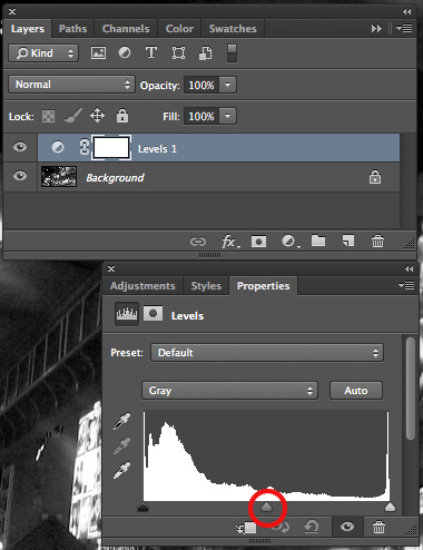 Simple Adobe Photoshop Effects: Black & White Photos - histogram